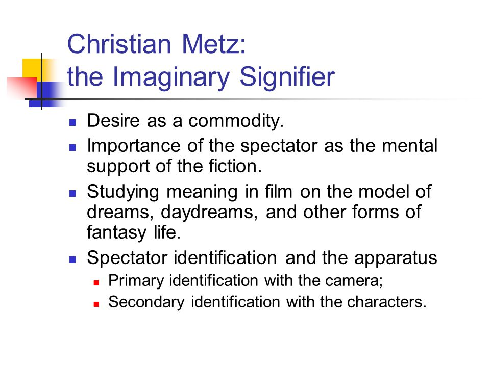 Christian Metz: the Imaginary Signifier