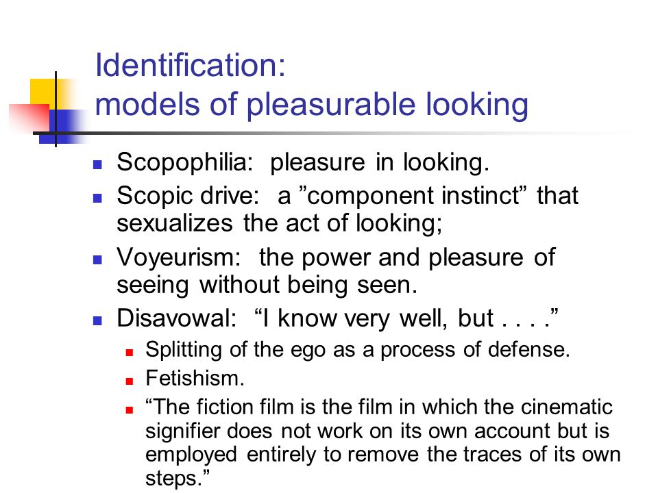Identification: models of pleasurable looking