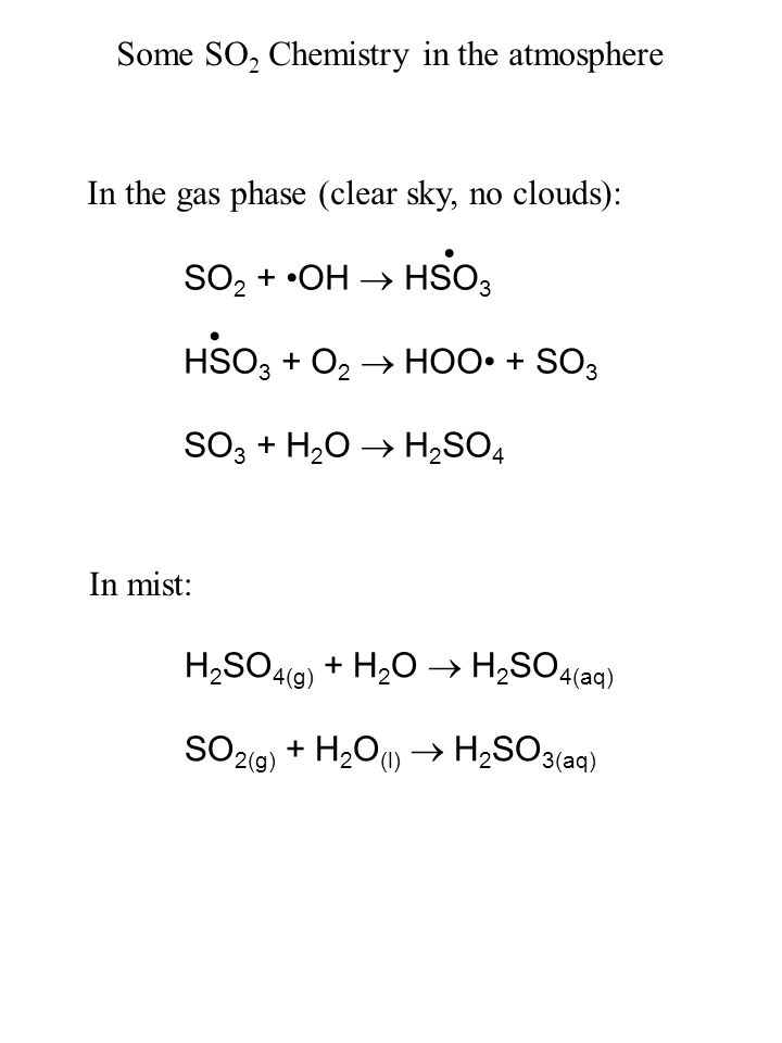 Some SO2 Chemistry in the atmosphere