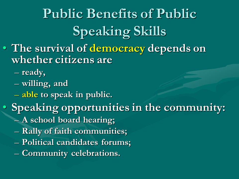 Public Benefits of Public Speaking Skills