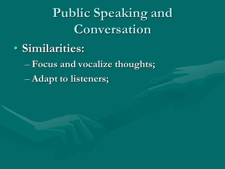 Public Speaking and Conversation
