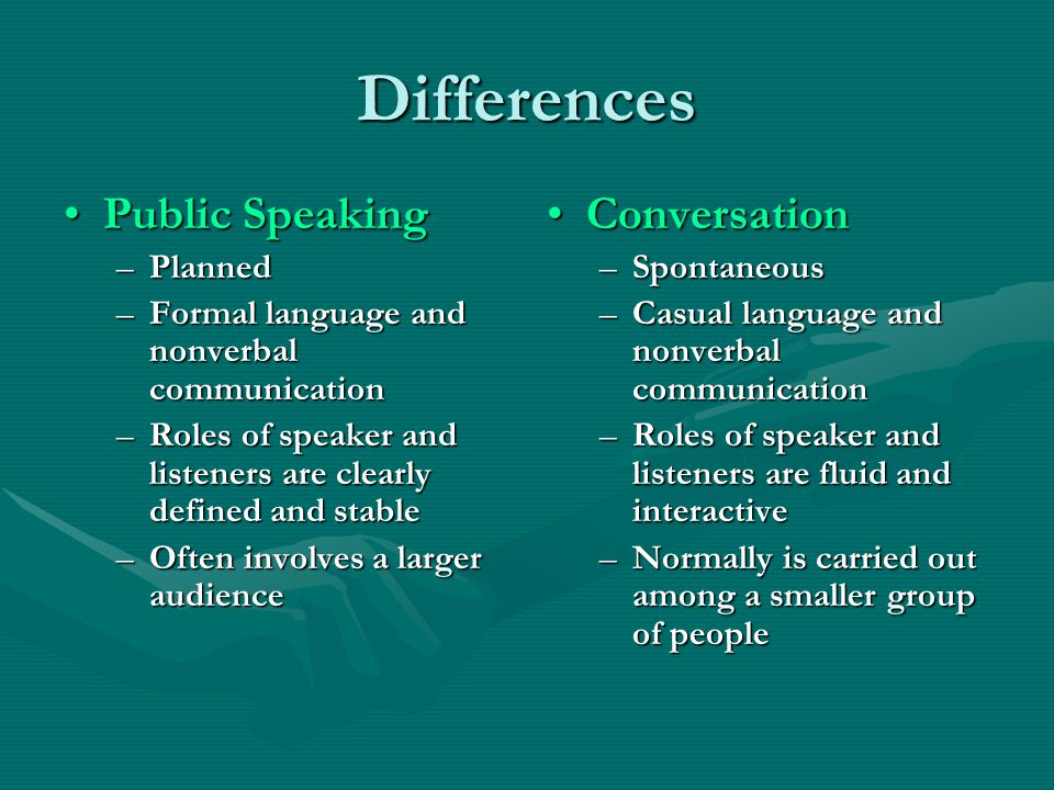 Differences Public Speaking Conversation Planned