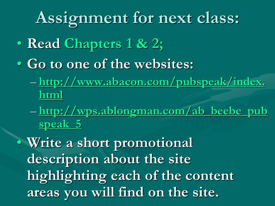 Assignment for next class: