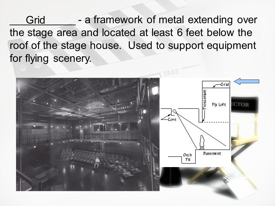 ___________ - a framework of metal extending over the stage area and located at least 6 feet below the roof of the stage house. Used to support equipment for flying scenery.