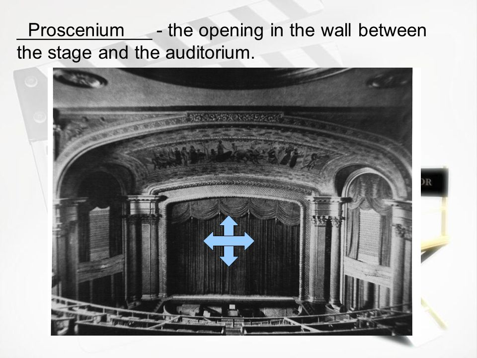 _____________ - the opening in the wall between the stage and the auditorium.