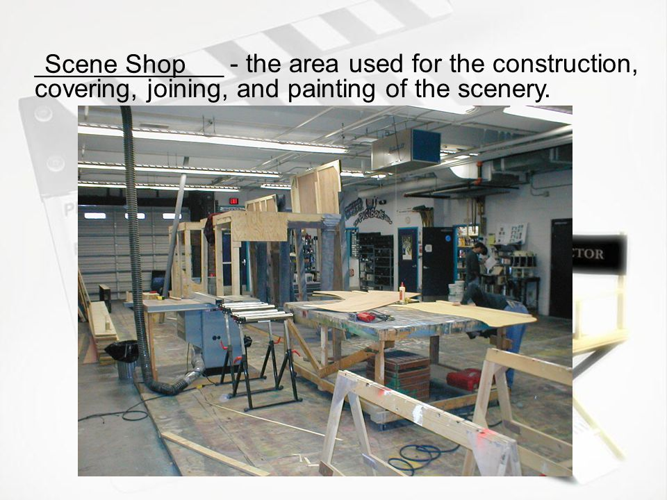 Scene Shop _____________ - the area used for the construction, covering, joining, and painting of the scenery.