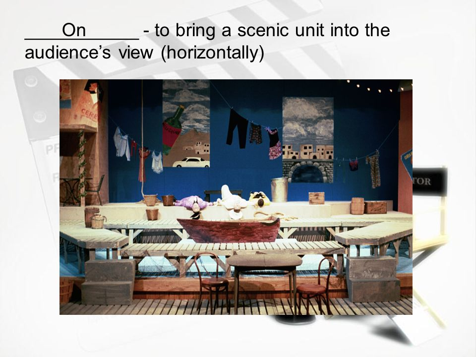 ___________ - to bring a scenic unit into the audience's view (horizontally)