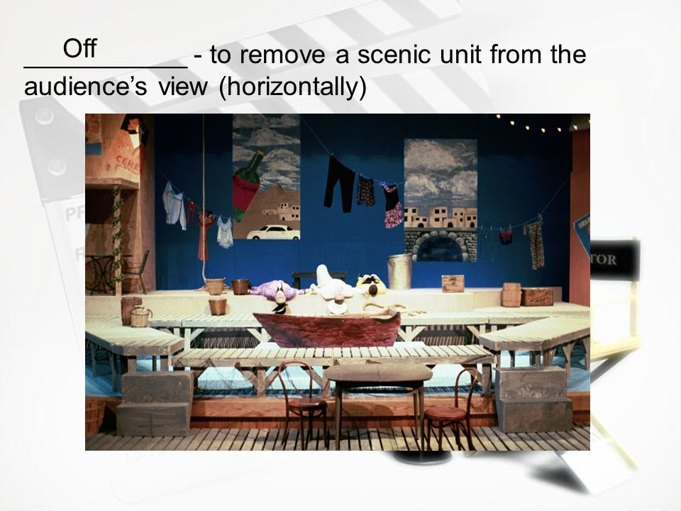 Off ___________ - to remove a scenic unit from the audience's view (horizontally)