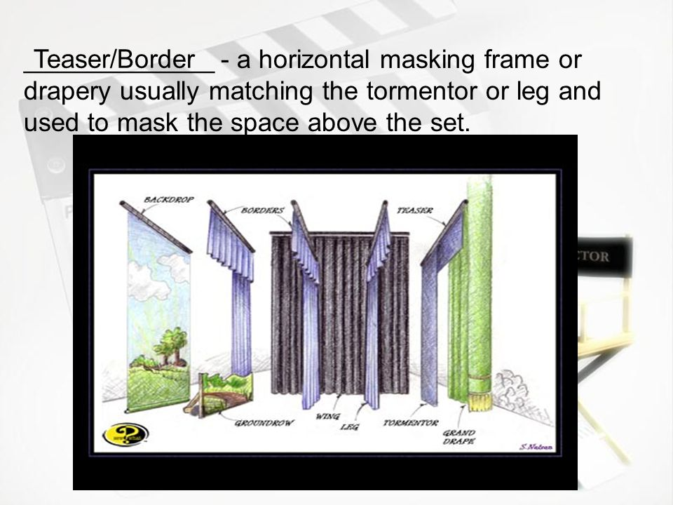 _____________ - a horizontal masking frame or drapery usually matching the tormentor or leg and used to mask the space above the set.