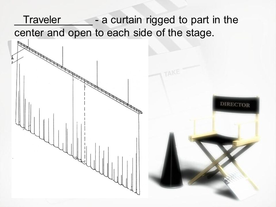 _____________ - a curtain rigged to part in the center and open to each side of the stage.