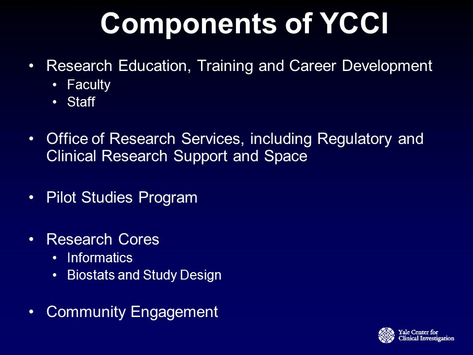 Components of YCCI Research Education, Training and Career Development