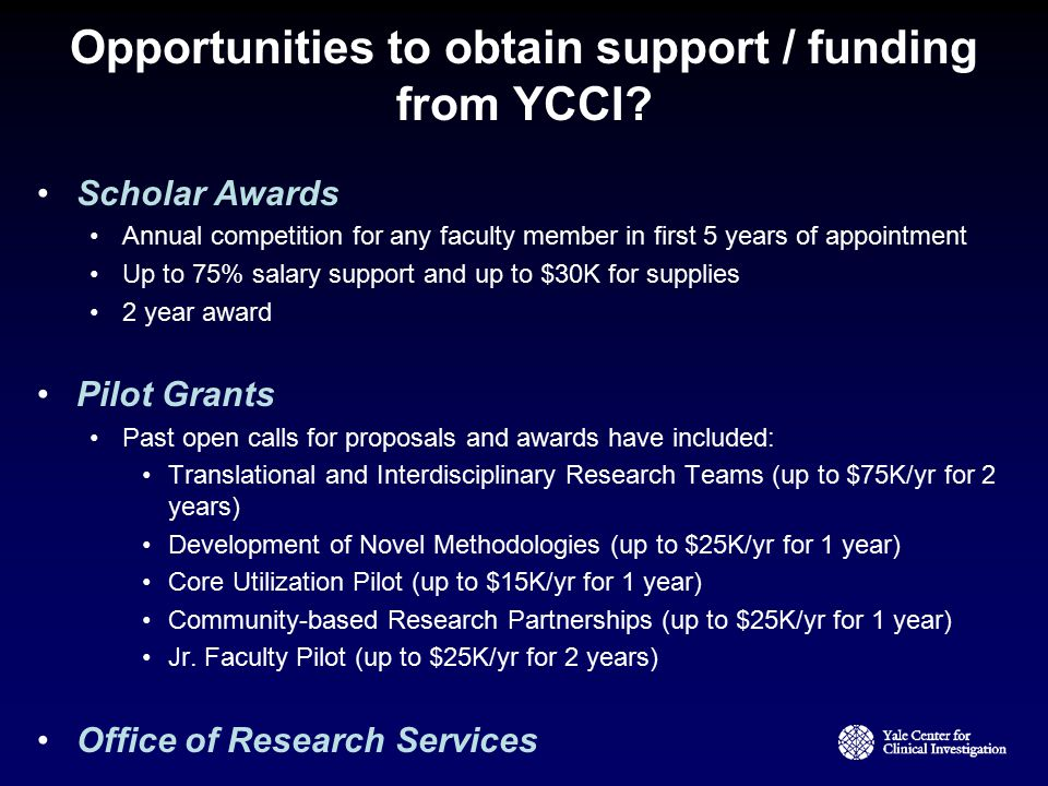 Opportunities to obtain support / funding from YCCI