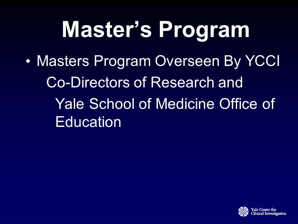 Master's Program Masters Program Overseen By YCCI