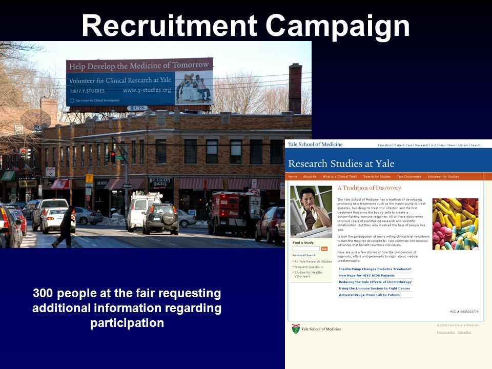 Recruitment Campaign 300 people at the fair requesting additional information regarding participation.