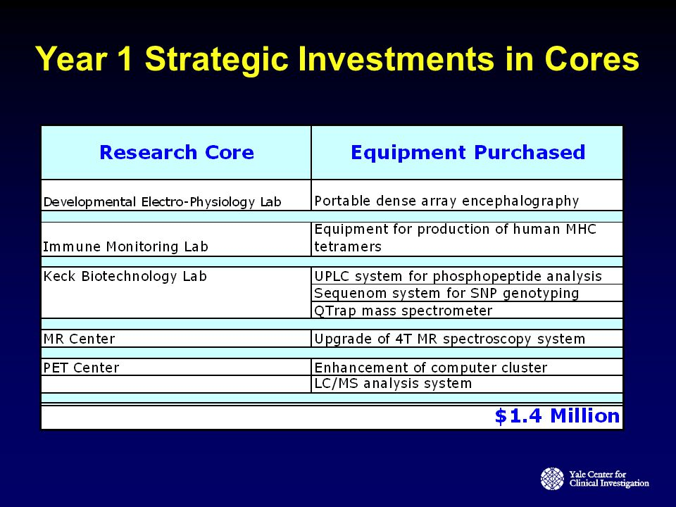 Year 1 Strategic Investments in Cores