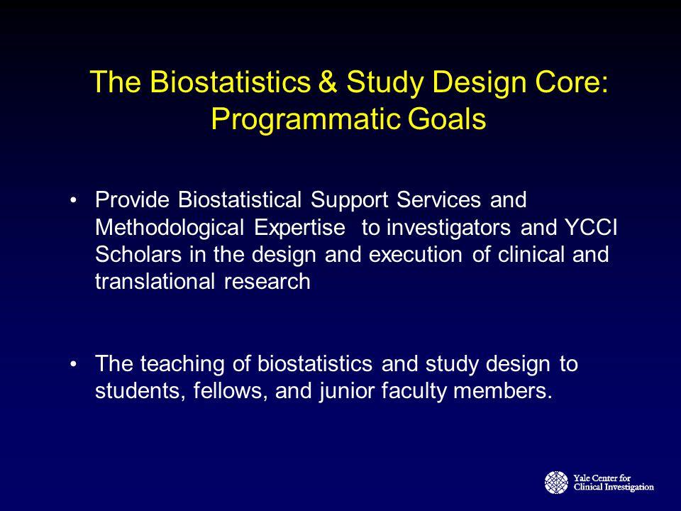 The Biostatistics & Study Design Core: Programmatic Goals