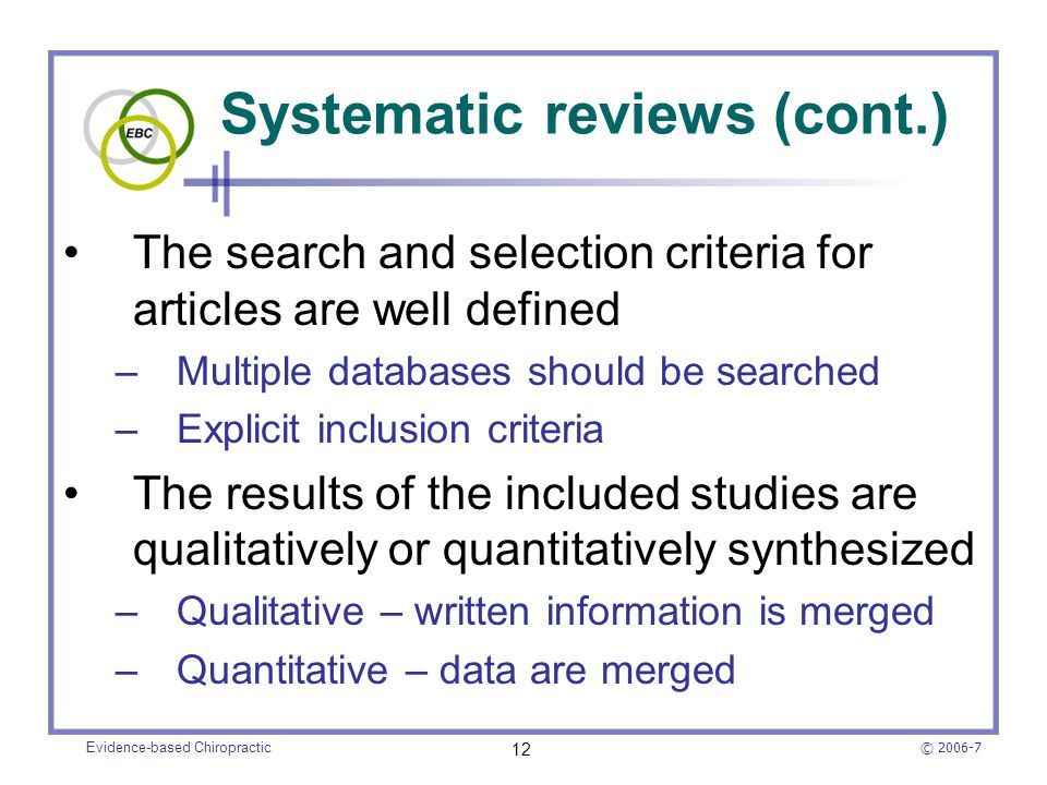 Systematic reviews (cont.)