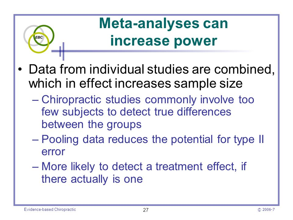 Meta-analyses can increase power