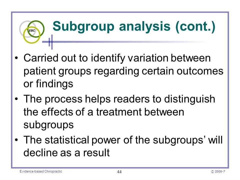Subgroup analysis (cont.)