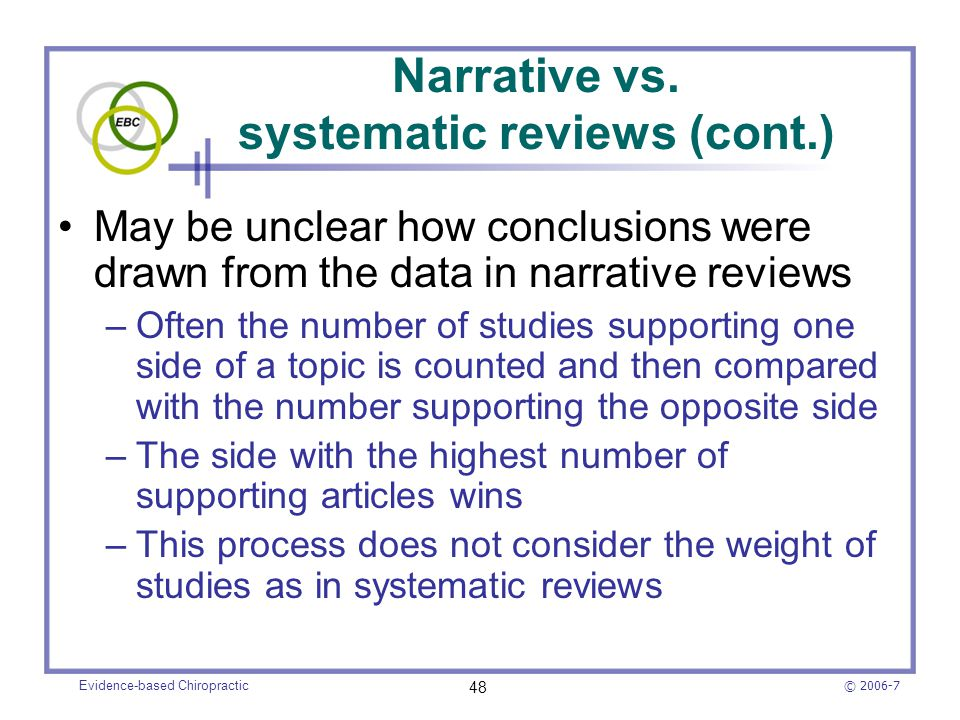 Narrative vs. systematic reviews (cont.)