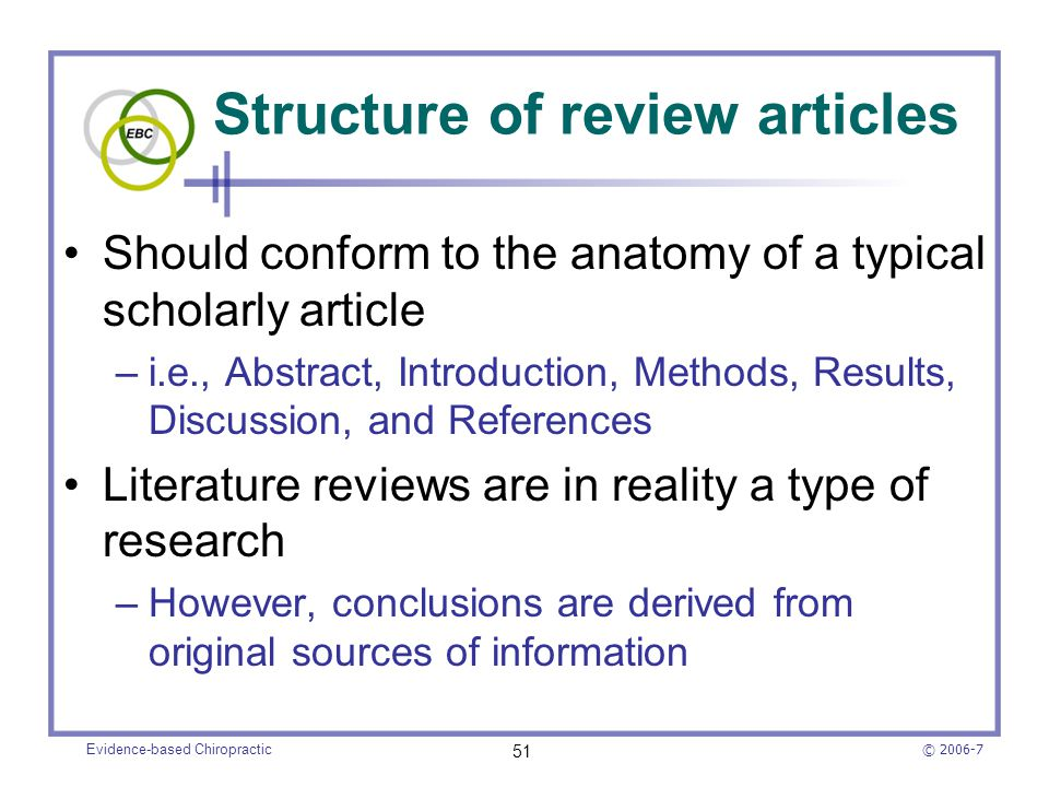 Structure of review articles