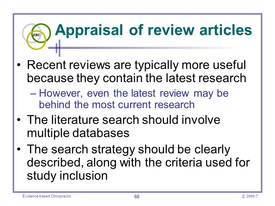 Appraisal of review articles