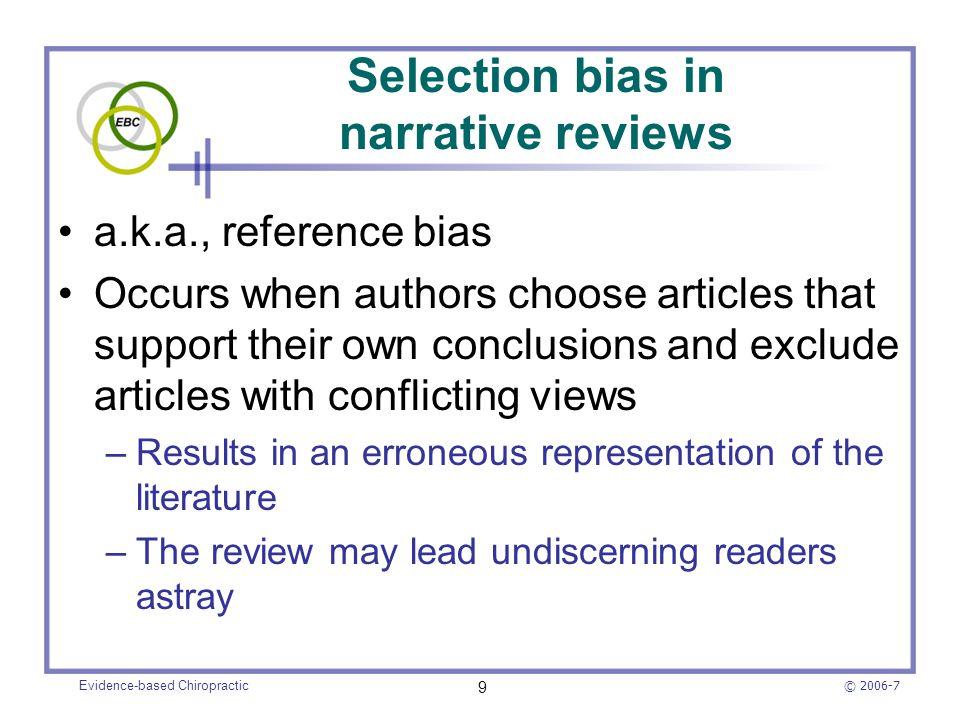 Selection bias in narrative reviews
