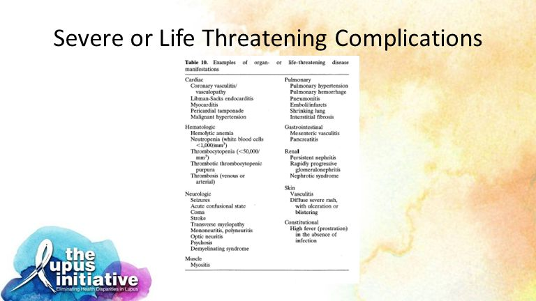 Severe or Life Threatening Complications