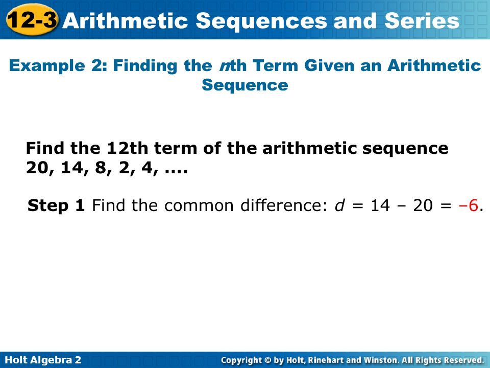 Example 2: Finding the nth Term Given an Arithmetic Sequence