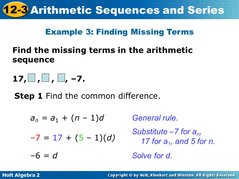 Example 3: Finding Missing Terms