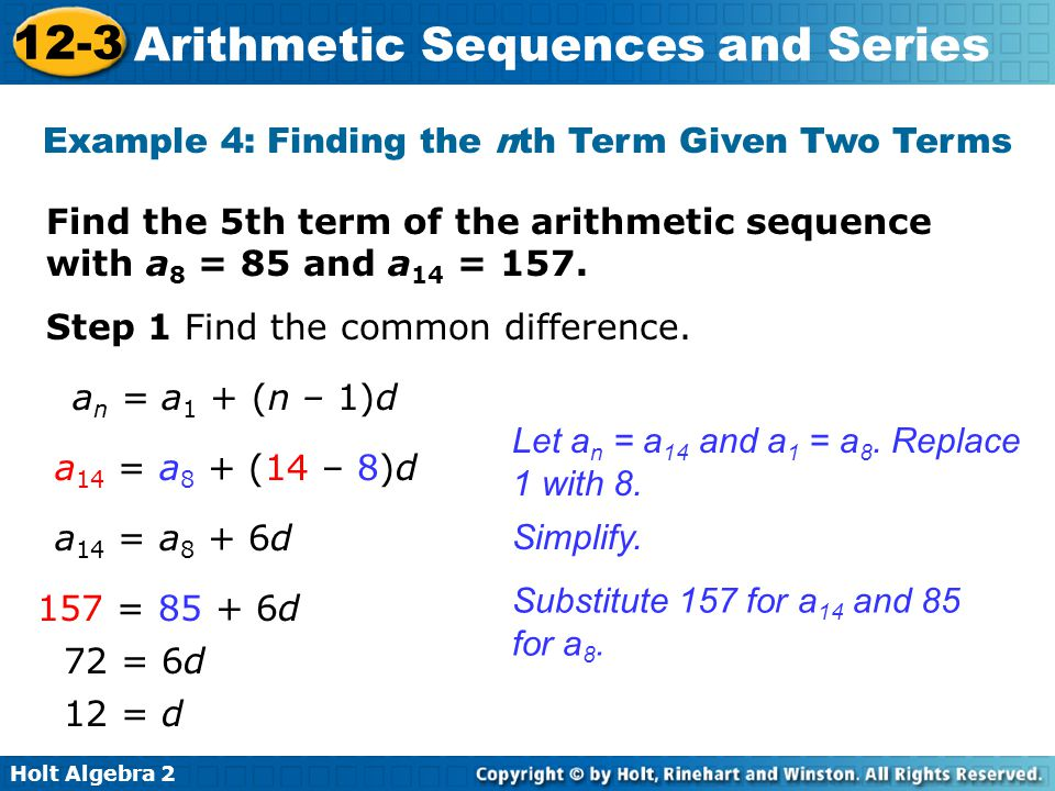 Example 4: Finding the nth Term Given Two Terms