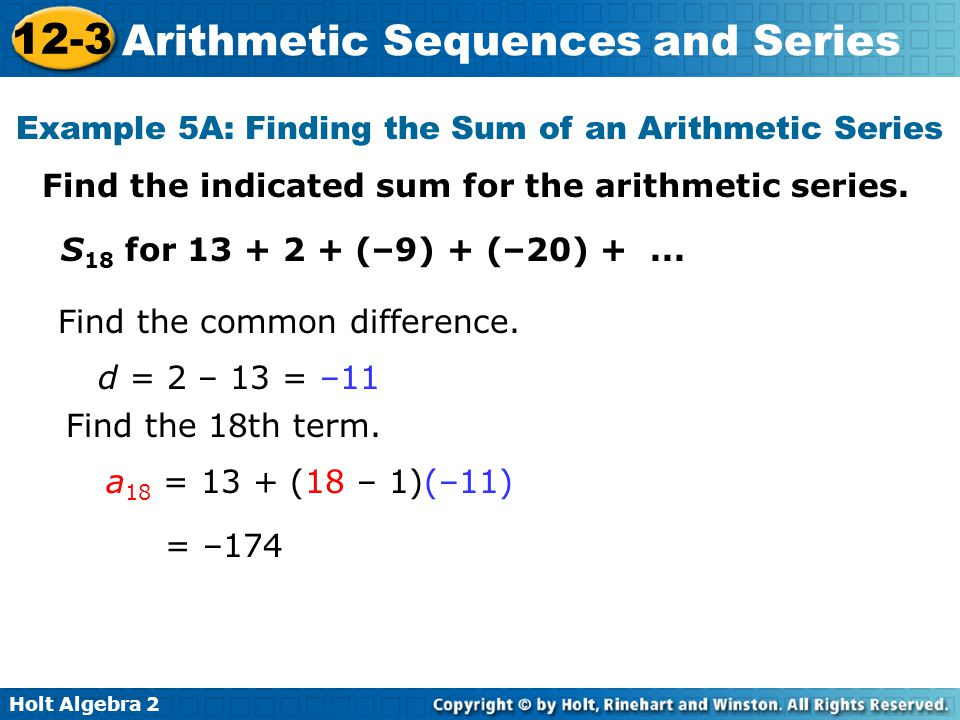 Example 5A: Finding the Sum of an Arithmetic Series