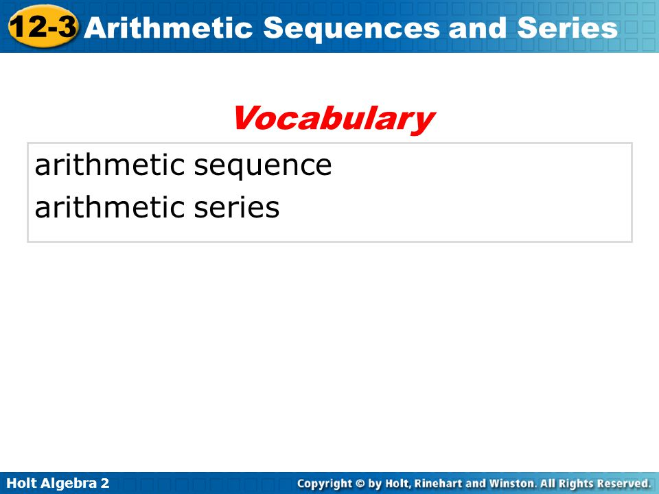 Vocabulary arithmetic sequence arithmetic series