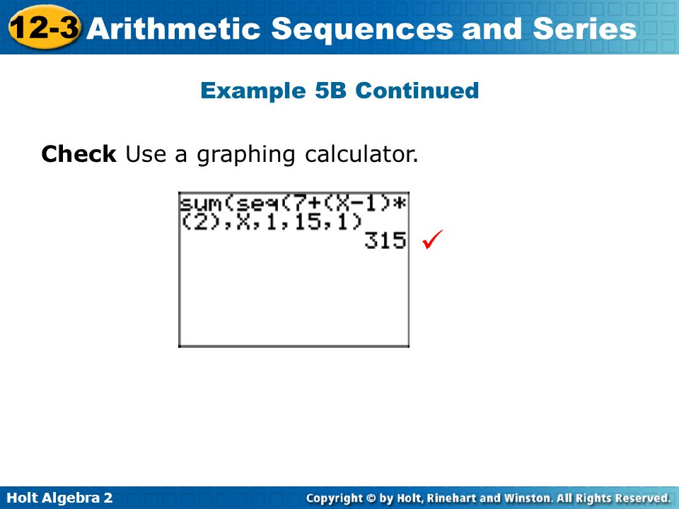 Example 5B Continued Check Use a graphing calculator. 