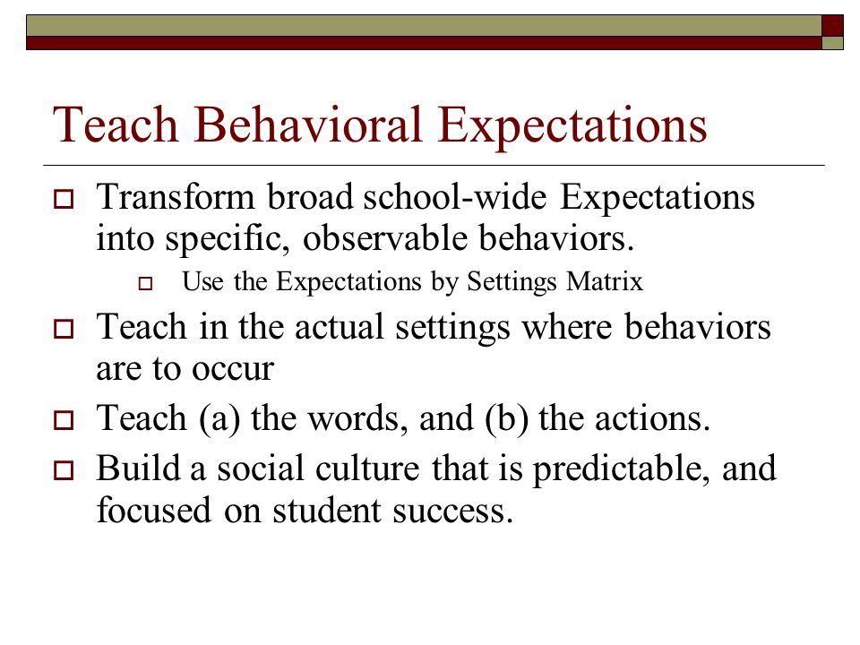 Teach Behavioral Expectations