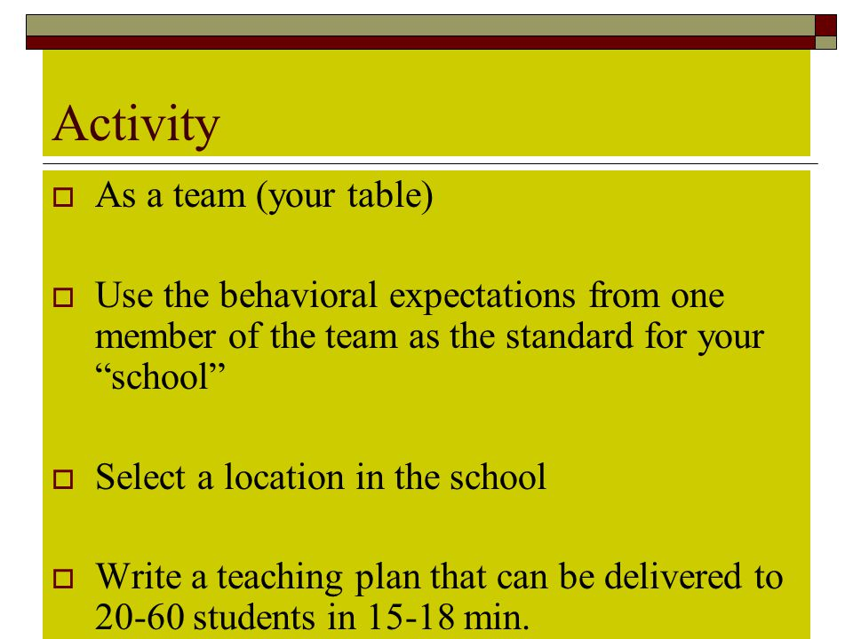 Activity As a team (your table)