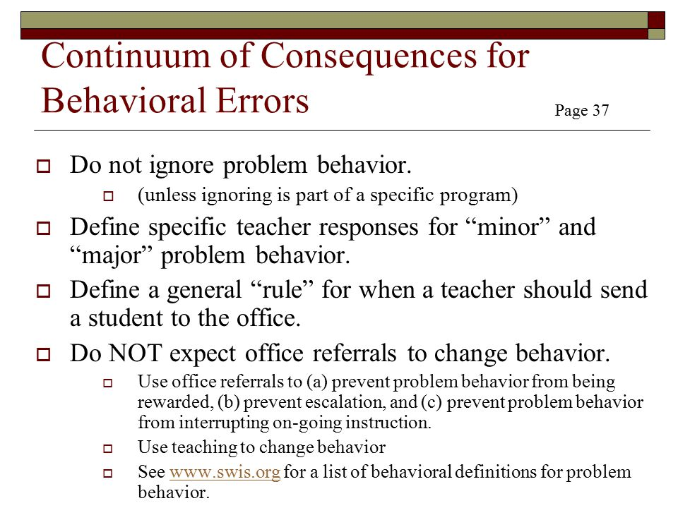 Continuum of Consequences for Behavioral Errors