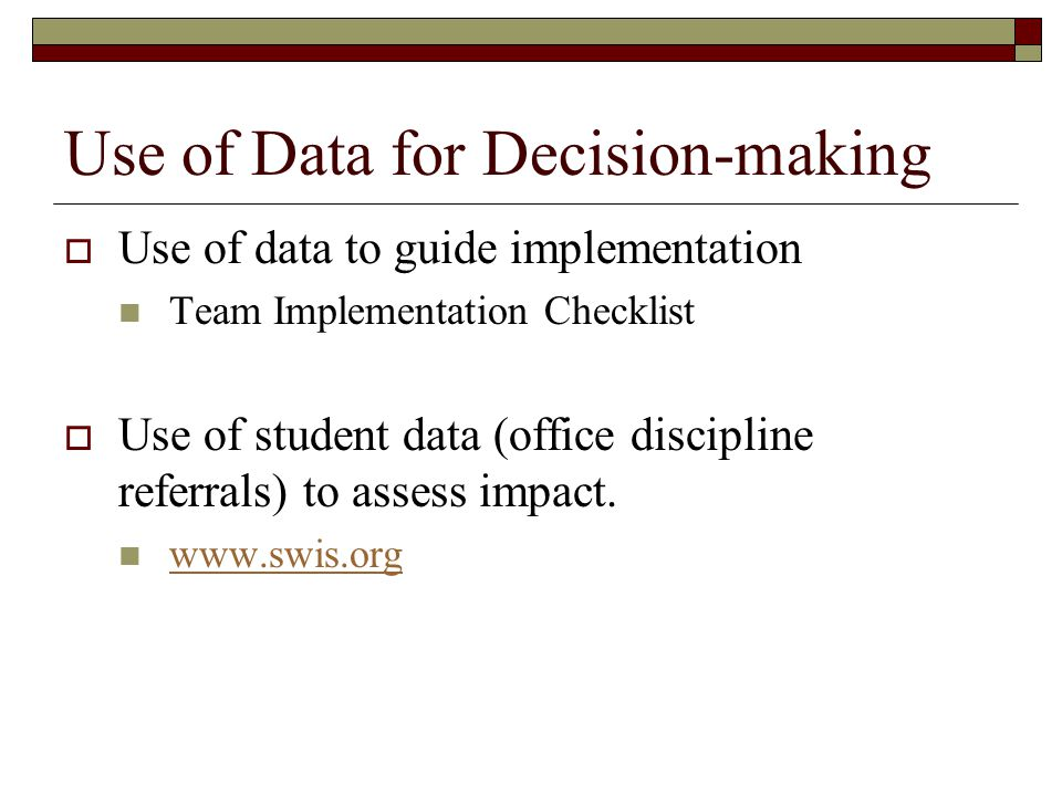 Use of Data for Decision-making