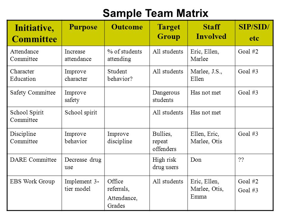 Sample Team Matrix Initiative, Committee Purpose Outcome Target Group