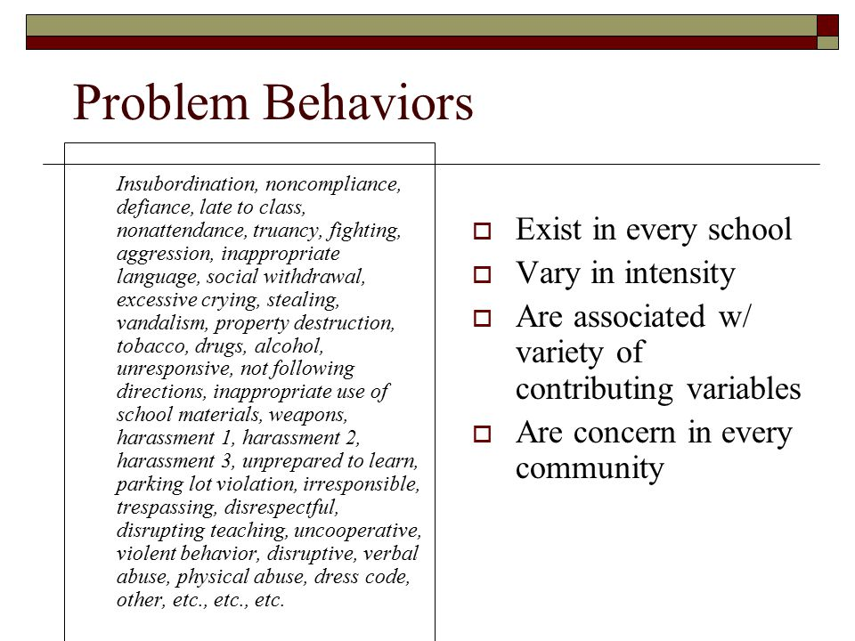 Problem Behaviors Exist in every school Vary in intensity