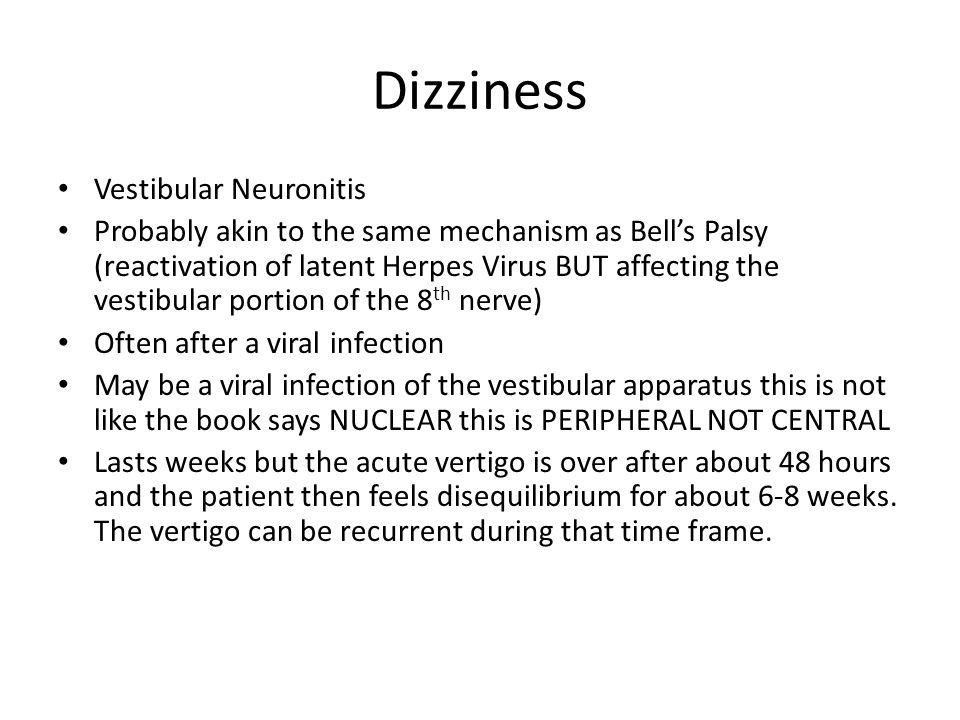 Dizziness Vestibular Neuronitis