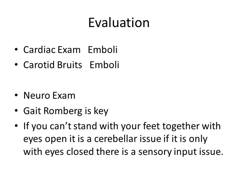 Evaluation Cardiac Exam Emboli Carotid Bruits Emboli Neuro Exam