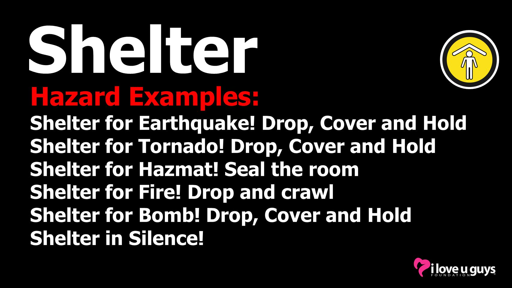 Shelter Hazard Examples: Shelter for Earthquake! Drop, Cover and Hold