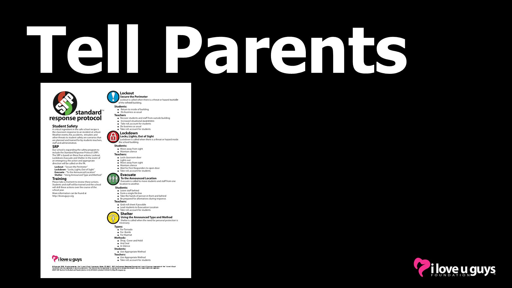Tell Parents You've received this info sheet.