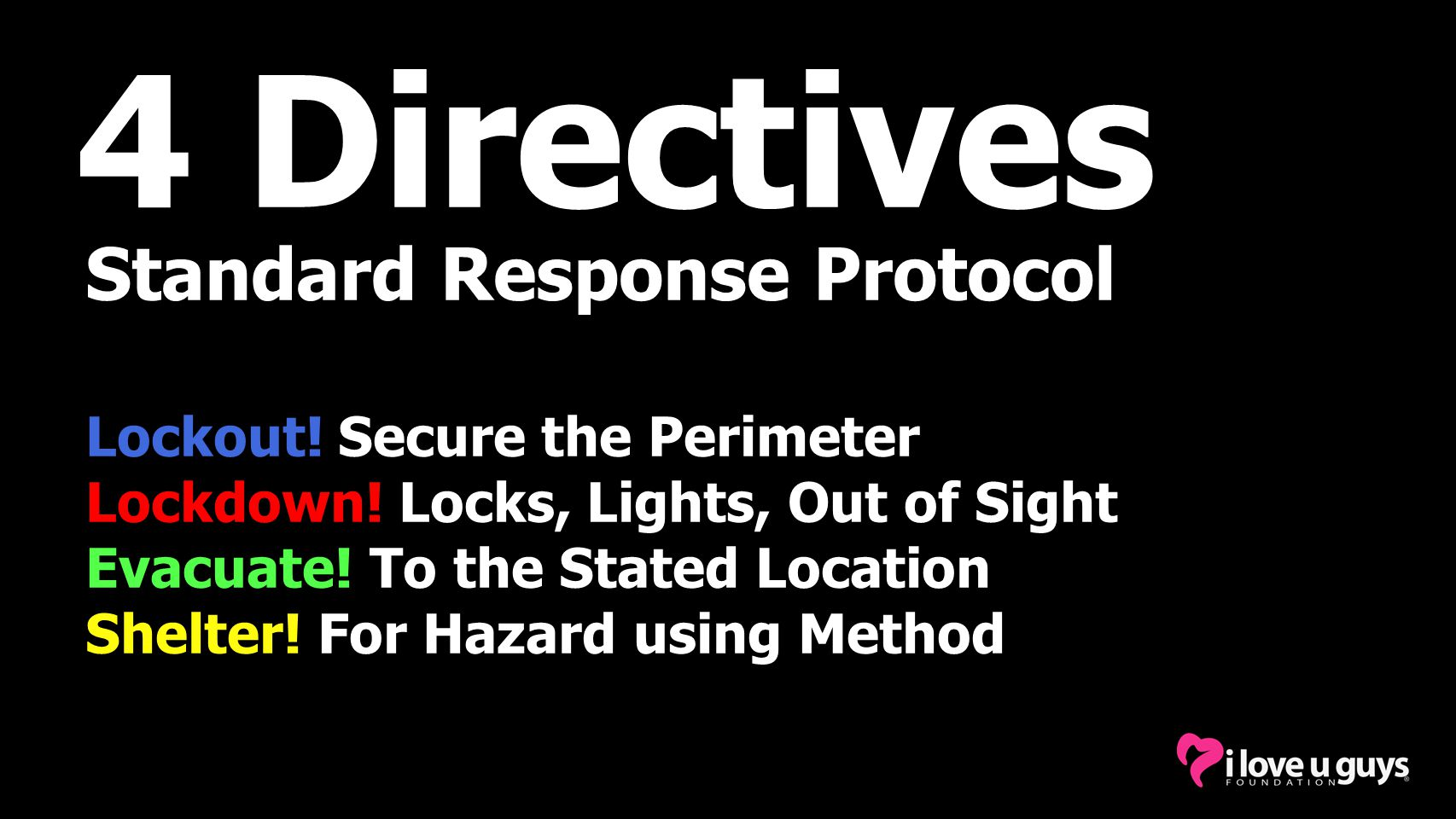 4 Directives Standard Response Protocol Lockout! Secure the Perimeter