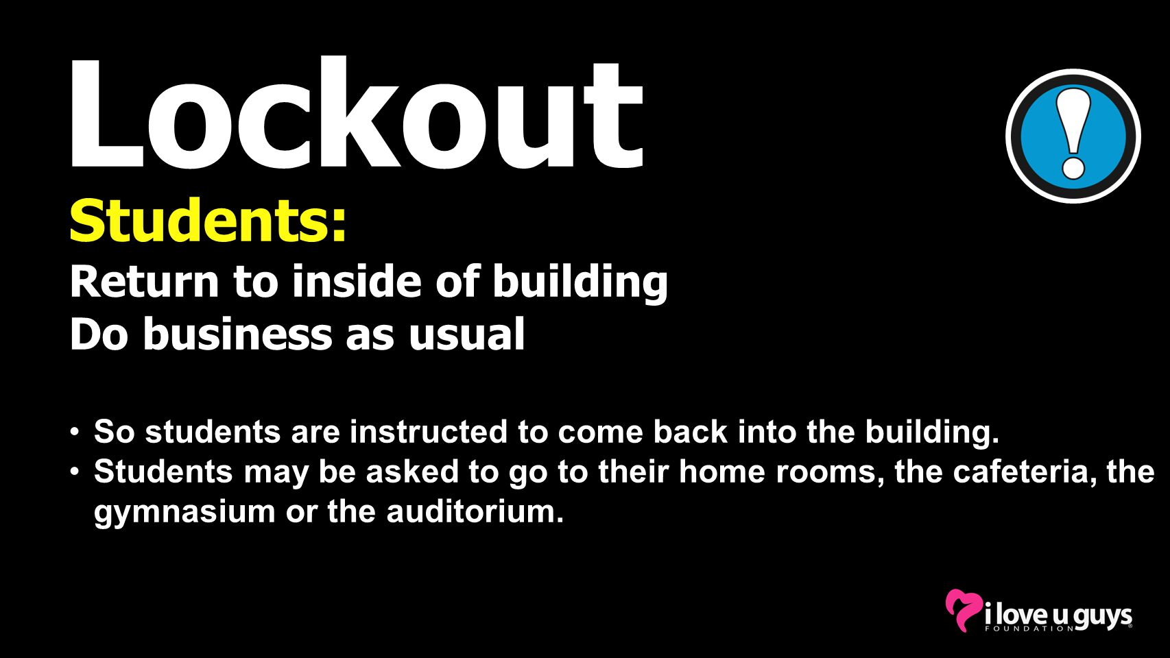 Lockout Students: Return to inside of building Do business as usual