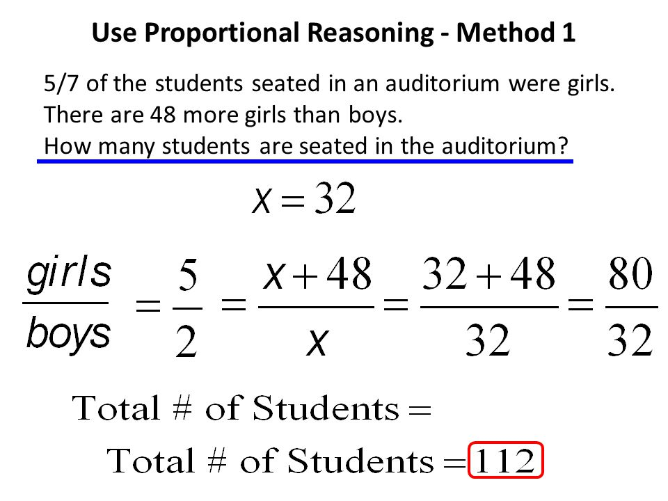 Use Proportional Reasoning - Method 1