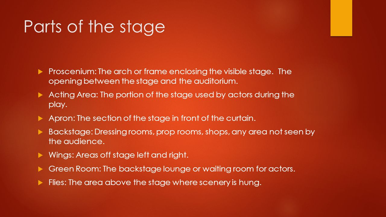 Parts of the stage Proscenium: The arch or frame enclosing the visible stage. The opening between the stage and the auditorium.