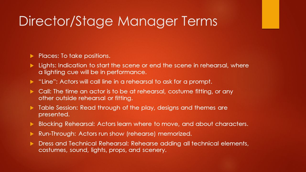 Director/Stage Manager Terms