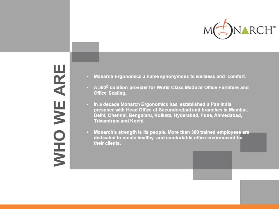 Monarch Ergonomics-a name synonymous to wellness and comfort.